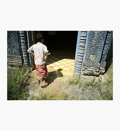 at the doorway, oudong, cambodia Photographic Print