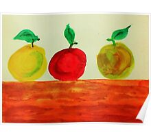 3 Apples on Table, watercolor Poster