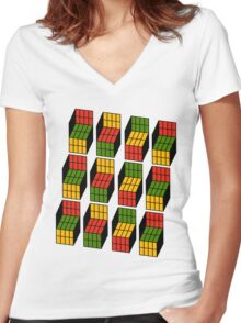 Geek's Cubes Women's Fitted V-Neck T-Shirt