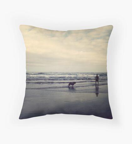 Doggie Beach Fun II Throw Pillow