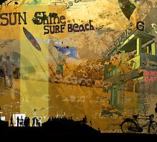 Sun shine surf beach by Adam Johnston