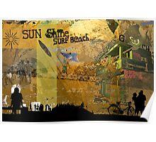 Sun shine surf beach Poster