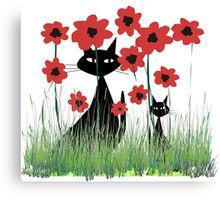 Black Cats and Red Poppies Canvas Print