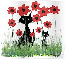 Black Cats and Red Poppies Poster