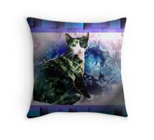 Tortoise shell cat by blue flowers Throw Pillow
