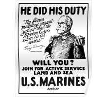 US Marines Recruiting - He Did His Duty Poster