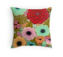 Gouache Garden Throw Pillow