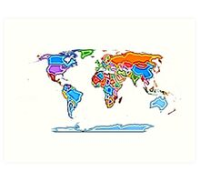 Painting Style Colored World Map Art Print