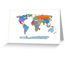Painting Style Colored World Map Greeting Card