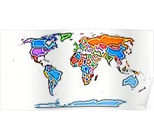 Painting Style Colored World Map Poster