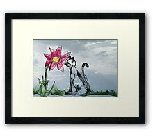 Scribbler-Cat and Flower Framed Print