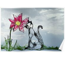 Scribbler-Cat and Flower Poster