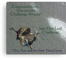 Challenge winner - Just One Leaf Canvas Print
