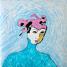Pink hat with coordinating lipstick by Sarah Curtiss