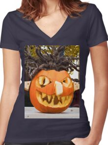 Scary Jack-O-Lantern Women's Fitted V-Neck T-Shirt