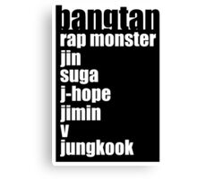 BTS/Bangtan Boys + Names Canvas Print