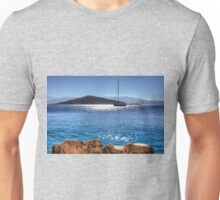 Yacht in front of Nissaki Unisex T-Shirt