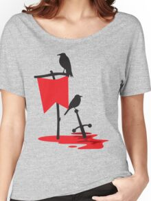 Black crows standing vigil on a blood red battlefield Women's Relaxed Fit T-Shirt