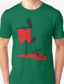 Black crows standing vigil on a blood red battlefield T-Shirt