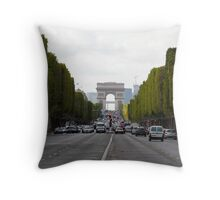 Champs Elysées in the rush hour Throw Pillow
