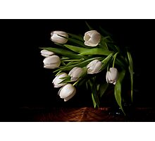 White tulips on a wicker basket Photographic Print