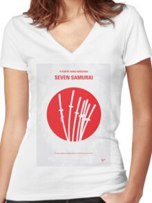 No200 My The Seven Samurai minimal movie poster Women's Fitted V-Neck T-Shirt