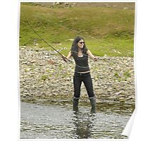 Flyfishing - Lady in River Poster