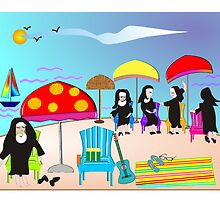 "Whimsical Nun Art  ""At The Beach"" by gailg1957"