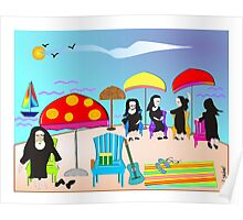 "Whimsical Nun Art  ""At The Beach"" Poster"