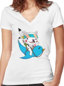 the tweet hunter Women's Fitted V-Neck T-Shirt