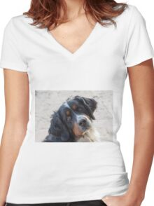 cute dog Women's Fitted V-Neck T-Shirt