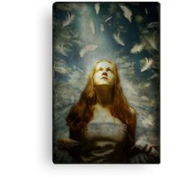 Girl With Feathers Canvas Print