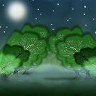 Eerie glade in moonlight by Grant Wilson