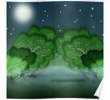 Eerie glade in moonlight Poster