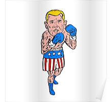 Boxer Pose USA Flag Etching Poster