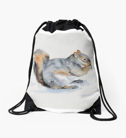 Squirrel's winter snacktime Drawstring Bag