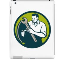 Mechanic Brandishing Spanner Wrench Circle Retro iPad Case/Skin