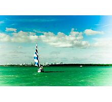 blue and white stripped sails Photographic Print