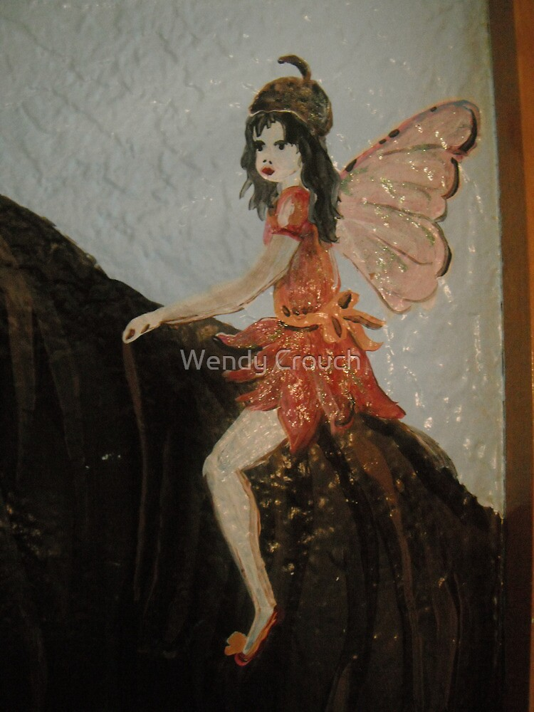 Fairy on a Horse in a red dress by Wendy Crouch