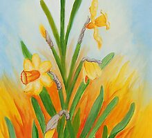 Daffodils  Rising from the Flames by Geraldine M Leahy