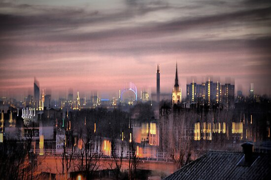 Dreamy City Skyline by Karen Martin