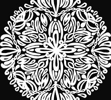 Kurbits inspired mandala, white - OneMandalaAday by onemandalaaday