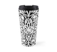 Kurbits inspired mandala, white - OneMandalaAday Travel Mug