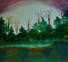 Pine Trees at Dusk by Lake, revised Watercolor by Anna  Lewis, blind artist