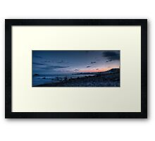 Blue hour seascape with rocks Framed Print