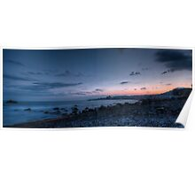 Blue hour seascape with rocks Poster