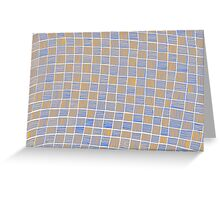 Wavy Rectangles Orange Blue Blue Orange White Greeting Card
