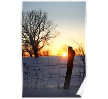 Sunset through fence Poster