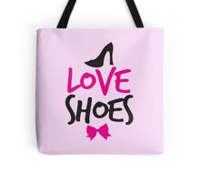 LOVE SHOES with funky fashion black shoes and a bow Tote Bag