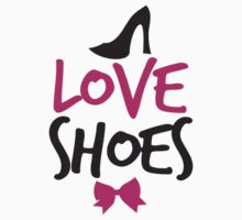 LOVE SHOES with funky fashion black shoes and a bow Kids Tee
